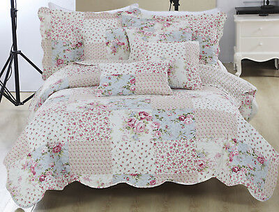 3 Piece Floral Embroidered Patchwork Quilted Bedspread Bedding Set + Pillow Sham