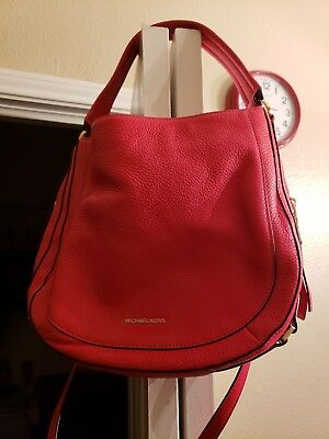 Authentic Michael Kors Julia Medium Leather Shoulder  Crossbody Bag in Red 2ff7b65e80