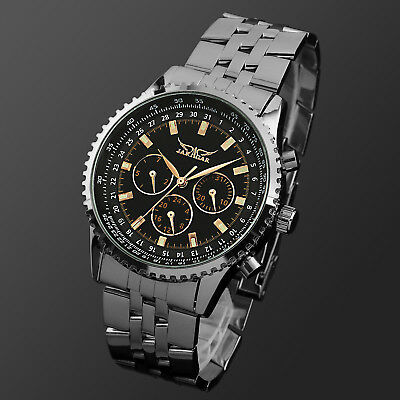 Mens Watch Automatic Black Dial Stainless Steel Case Self-winding Analog Luxury