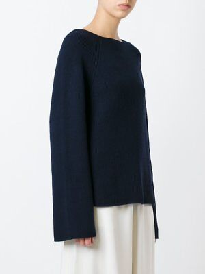 264a0593e0ef Helmut Lang Ribbed Boatneck Sweater Nero Navy Cashmere Cotton M NWT  450