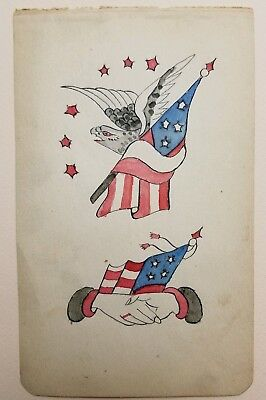 original antique vintage tattoo flash 1900 WH Wilson eagle usa flag friends 4x7