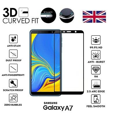 For Samsung Galaxy A7 (2018) 3D Curved Tempered Glass LCD Screen Protector Black