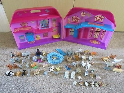 Puppy In My Pocket Pink Manor Play House 12 Flocked Animals (RARE) 60+ Figures
