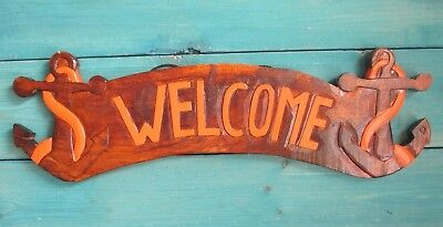 Anchor Welcome Sign Island Sailing Decor Lodge Nautical Hand Carved Painted