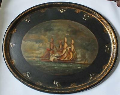 Maritime Oil Painting On Papier Mache Tray Hms Scourge Copy Of Thomas Yates 1793