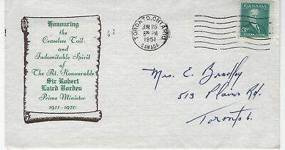 CANADA - #303 - 3c SIR ROBERT BORDEN FIRST DAY COVER (1951) FDC PRIME MINISTER