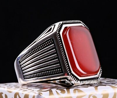 Turkish Jewelry 925 Sterling Silver Red Agate Aqeeq Mens Man Ring ALL SİZE 411