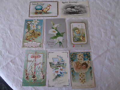 Vintage Easter Postcards-Lot of 8-Embossed-Early 1900s-Posted and Unposted