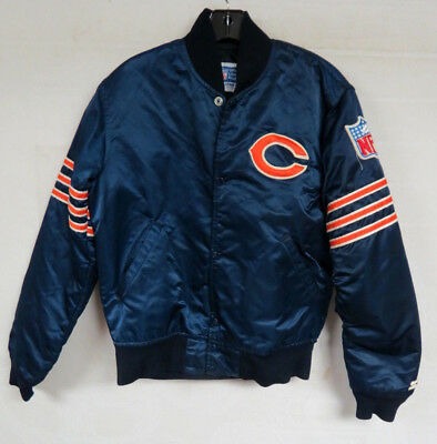 Vintage Chicago Bears Satin Jacket Starter Nfl Mens Sz Small Snap Front Quilted