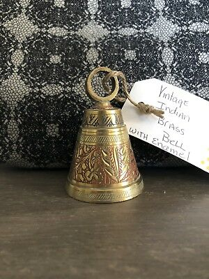 Ornate Brass Bell With Paint Remnants In The Grooves!