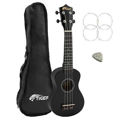 Tiger Beginners Left Handed Soprano Ukulele in Black with Bag