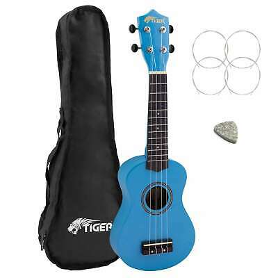 Tiger Beginners Left Handed Soprano Ukulele in Blue with Bag
