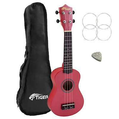 Tiger Beginners Left Handed Soprano Ukulele in Red with Bag