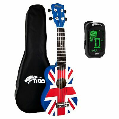 Tiger Union Jack Soprano Ukulele for Beginners with Bag & Tuner