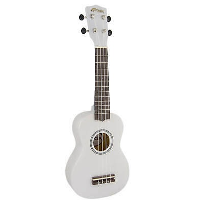 Tiger Soprano Ukulele for Beginners in White
