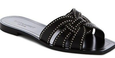 b4883ef48210 NEW Saint Laurent YSL Tribute Nu Pieds Flat Studded Slide Sandal Flats  Black 36