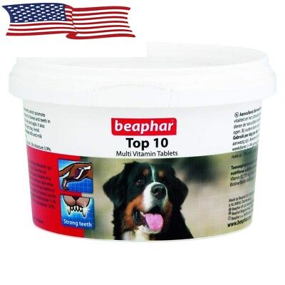Beaphar Dog Top 10 Multi-vitamin 180 Tablets Vitality Dental Coat  and  Fitness