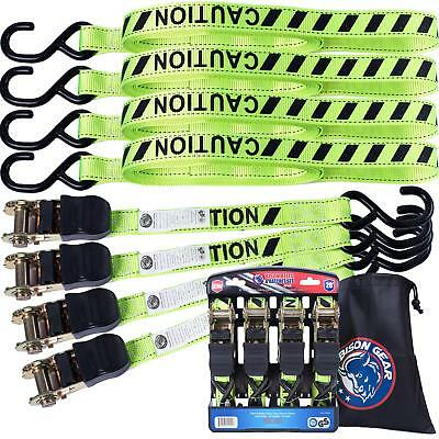 Ratchet Tie Down Straps 20 foot 4 Pack by Bison Gear High Visibility UV