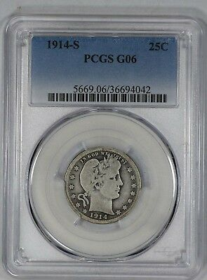 1914 S Barber Quarter 25C Pcgs Certified G 06 Good (042)