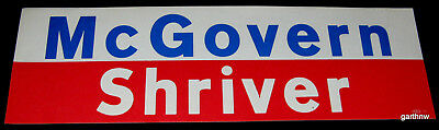 GEORGE McGOVERN & SARGENT SHRIVER 1972 PRESIDENTIAL CAMPAIGN BUMPER STICKER
