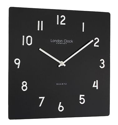 London Clock Company Square Black Glass Wall Clock