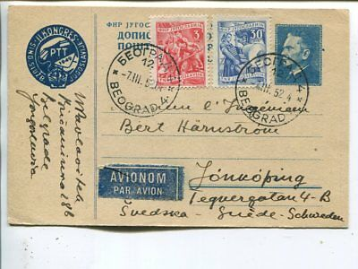 Yugoslavia uprated air mail postal card to Sweden 1952