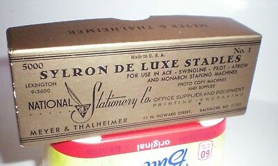 Vintage National Stationary Co. Baltimore, Md Sylron De Luxe Wire Staples 5000