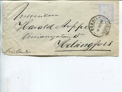 Portugal cover to Finland 1894, stamp defect