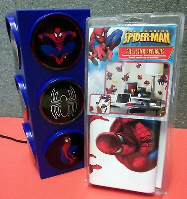 Spider-Man Decorative Room Traffic Party Light + Peel And Stick Appliques Pack.