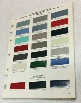 Dupont Imported Car Color Chips 1965, Austin Healey, MG, VW, Triumph, Volvo