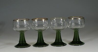 Set of 4 Vintage German Roemer Crystal and Green Wine Glasses Grape Cut c.1965