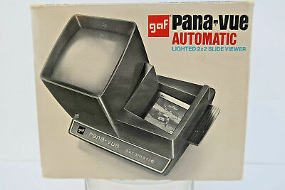 GAF Pana-Vue Automatic LIGHTED Slide Viewer w/ AC POWER Cord Transformer in Box!