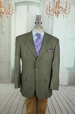 Tommy Hilfiger Men's Olive & Black Hounds Tooth Wool Sport Coat Blazer 42R 42 R