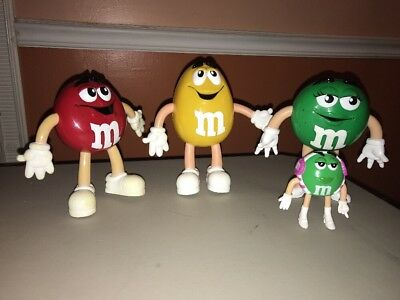 Lot Vintage M&M Figurines Red Yellow Green