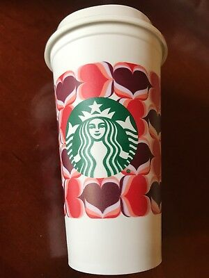 Starbucks 2019 Valentine's Day Lovers Hearts Plastic Reusable Travel Tumbler Cup