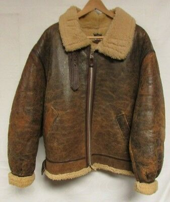 Vintage Avirex Leather Flight Jacket Distressed B-6 Bomber Sherpa Shearling