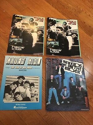 Vintage New Kids On The Block x3 Sheet Music Lot Piano Vical Guitar + Folder