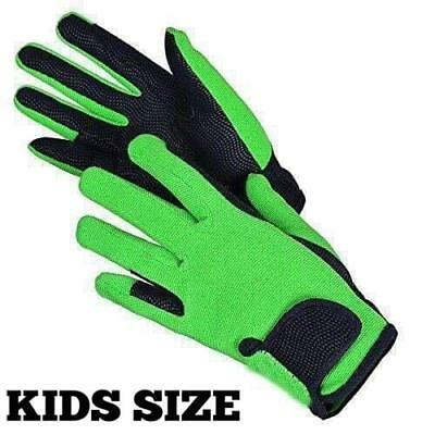 Childrens Equestrian Horse Riding Gloves Synthetic Leather Cotton Dublin Kids