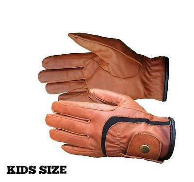 Childrens Kids Equestrian Winter Horse Riding Gloves Genuine Real Leather Brown