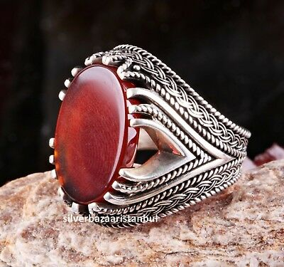 Turkish 925 Sterling Silver Red Agate Aqeeq Stone Mens Solid Ring ALL SİZE 615