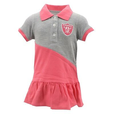 Oakland Raiders Official NFL Infant Toddler Girls Size Pink Polo Dress  Outfit 0659f0ac336b