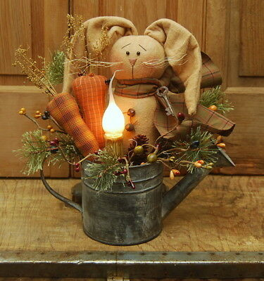Handmade Primitive Bunny Rabbit Doll Carrots Candle Lamp Watering Can