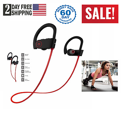 Bluetooth Earbuds Waterproof Beats Sports Wireless Headphones Stay in Ear Design
