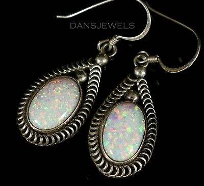 Gilson Created Color Play White OPAL Navajo Sterling Silver DANGLE Earrings