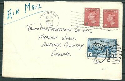 Canada 1951 Cover, Duncan To Allesley Coventry England, Nice Stamps -Cag 030918