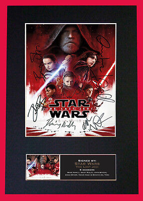 Star Wars -The Last Jedi Mini Poster - SIGNED BY 6 CAST MEMBERS - Museum Grade