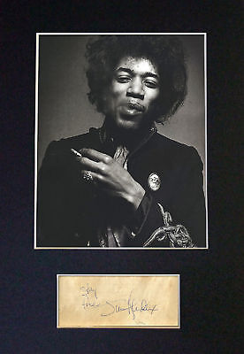 Jimi Hendrix - *RARE* Signature / Autograph + Photograph -Mounted Ready To Frame