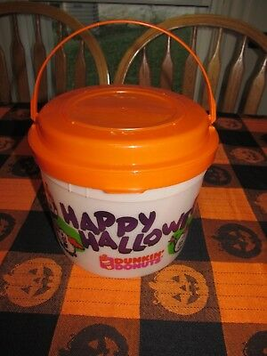 Dunkin Donuts Plastic Blow Mold Halloween Trick Or Treat Candy Pail/bucket