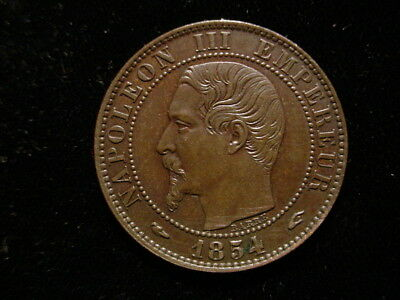 France - 1854A, 5 Centimes - Very Nice, with some RED on reverse