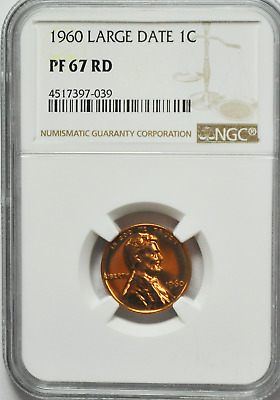1960 Large Date 1c Proof Lincoln Memorial Cent One Penny NGC PF67 RD Gem Unc